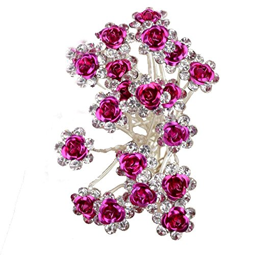 HugeStore 40 Stück Blumen Strass Haarnadeln Haarspangen Perlen Haarnadeln Brauthaarschmuck Haarschmuck für Braut Hochzeit Hot pink