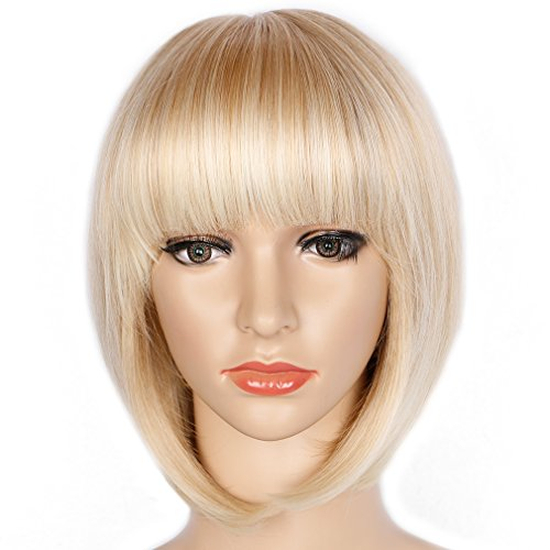 Light Blonde Straight Bob Hair Wig with Flat Bangs Synthetic Wig for Women Cosplay Daily Party Wigs Natural As Real Hair 12 inches Free Wig Cap