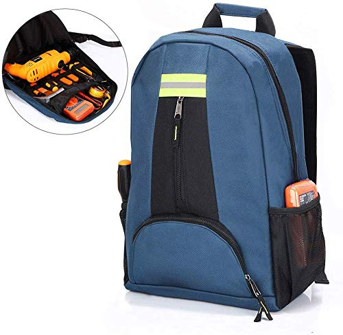 QEES Electrician Tool Bag, Waterproof Tool Backpack, Heavy Duty Durable Electrician Backpack, Multi-Pockets Tool Bag Backpack Compatible with Klein Tools, HVAC Tools, CLC Tools (Blue)