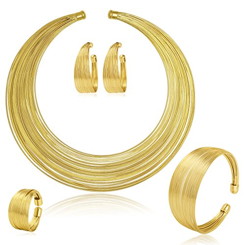Moochi Gold Plated Multiple Strands Necklace Earrings Bracelet Ring Jewelry Set
