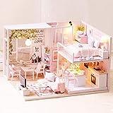 1:24 escala casa de muñecas en miniatura, artesanía de madera creativa en miniatura LED Light Kit de casa de muñecas para niños pequeños