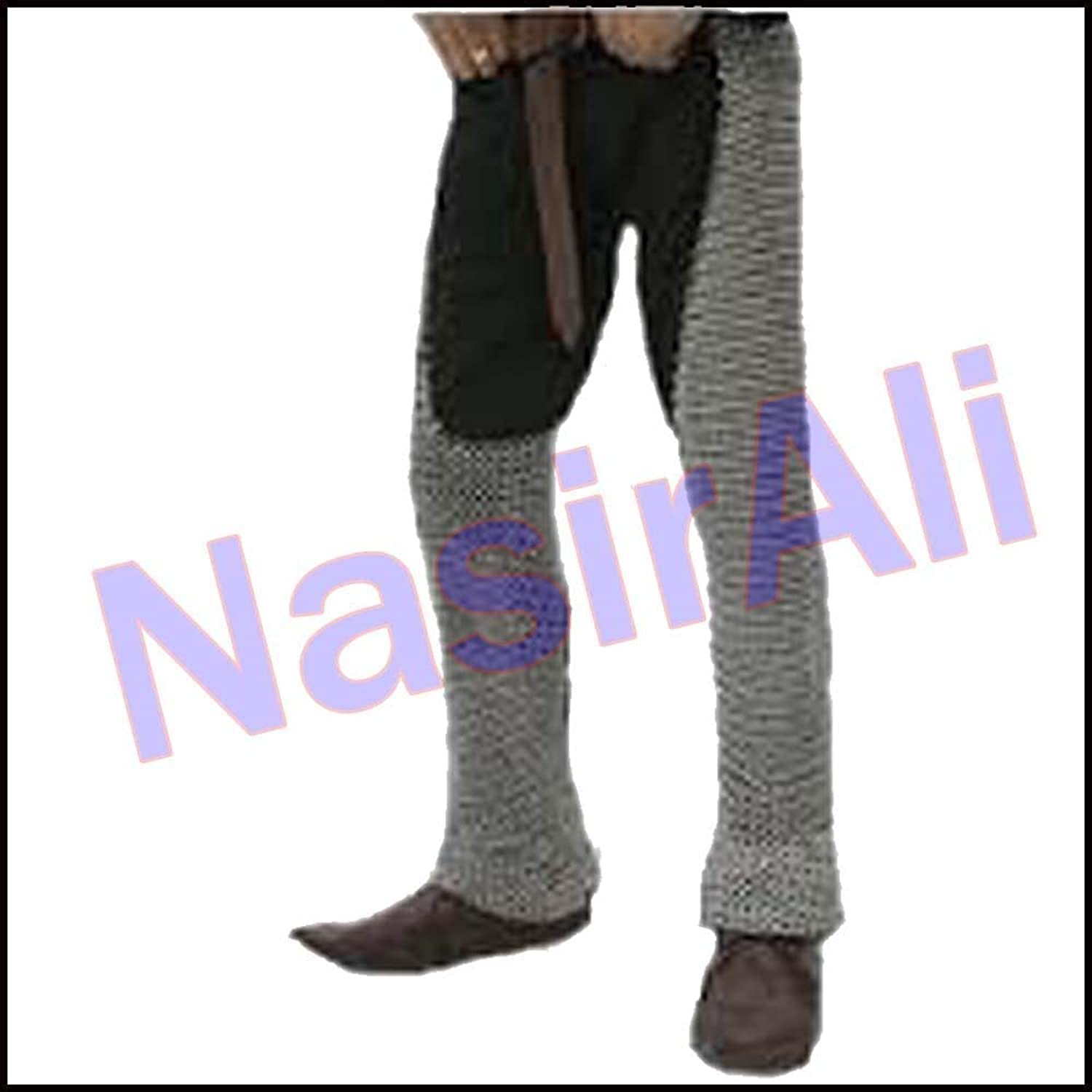 Nasir Ali Large Chainmail Leggings Medieval Knight Battle Ready Leg Butted Chainmail Leggings