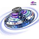 KASTEWILL FlyNova Flying Spinner 360° Drehbarem Hubschrauber Mini Drohne Fliegender Spinner mit blinkenden LED-Licht Wiederaufladbarer Kleine Drohnen Spielzeug für Jugendliche/Erwachsene - Blau