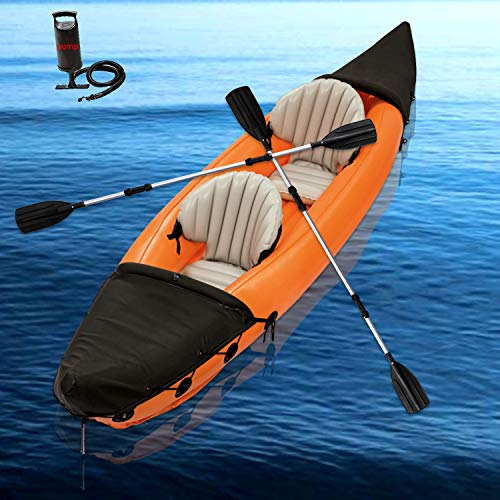 Inflatable Kayak Inflatable Boat Canoe - 2 Person Inflatable Kayaks for Adults and Kids-Portable Touring Kayaks Set with two Paddles and High Output Air Pump Fishing Kayak Raft Dinghy Rafting Pontoon