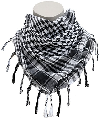Afgan Stole Military Shemagh Scarves Tactical Shemagh Arab Desert Keffiyeh Neck & Head Scarf Wrap Turban Woven Checkered Pattern (White)