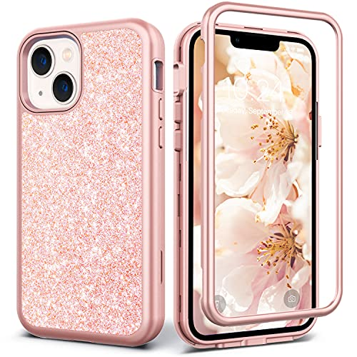 Coolwee Glitter Full Protective Case Compatible iPhone 13 Heavy Duty Hybrid 3 in 1 Rugged Shockproof Women Girls Rose Gold Pink Compatible with Apple iPhone 13 6.1 inch Shiny Bling