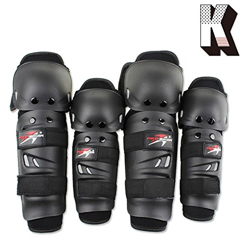 Kagogo Shin Guards Adult Elbow & Knee Pads Protector Flexible Breathable Adjustable Elbow Armor for Motorcycle Motocross Racing Mountain Bike, One Size Fits Most ,4 Pieces Black (Black01)