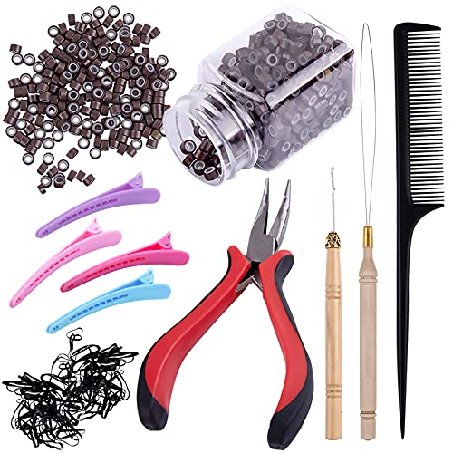 Duufin Kit de Herramientas de Extensión de Cabello 500 Piezas Negro Micro Anillos para Extensiones de Pelo 1 Alicates 2 Agujas Gancho 1 Peine de Cola 4 Pinza Pelo Clip y Goma de Pelo (Marrón)