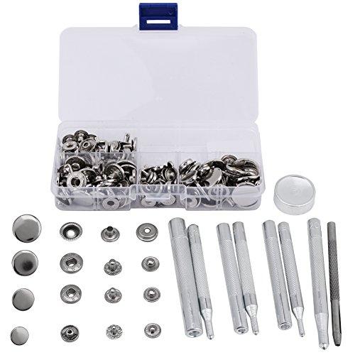 40 sets Kit de cierres a presión Remache de reparación rápida de cuero con herramienta de ajuste de 4 piezas para chaquetas de ropa Jeans usa bolsos(Plata)