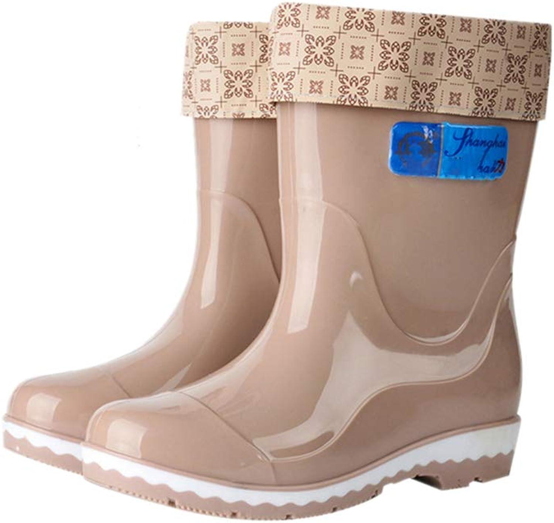 Fancyww Women's Tall Warm Waterproof Rain Boots Ladies Garden Work shoes