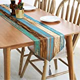Alishomtll Burlap Linen Table Runner with Tassels, Wood Grain Teal Table Runner, Barn Farmhouse Table Runners for Holiday, Summer Parties, Catering Events, Indoor and Outdoor Parties, 14' x 70'