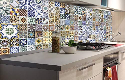 Zelfklevende keuken achterwand PORTUGESE TEGELS 180 x 60 cm | Zelfklevende spatwand keukenfolie | Waterbestendige folie voor de keuken | PREMIUM KWALITEIT | Gemaakt in de EU