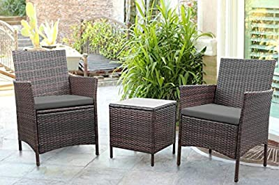 Greesum 3 Pieces Outdoor Patio Furniture Sets, PE Rattan Wicker Chair Conversation Sets with Soft Cushion and Glass Coffee Table for Garden Backyard Porch Poolside, Brown and Gray