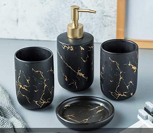 Keramik-Badezimmer-Sets, 4-teiliges Badezimmer-Zubehör-Set, komplettes Set, Waschtisch-Aufsatz-Zubehör-Set inklusive Seifen-/Lotionspender, Becher (schwarz (4 Stück)