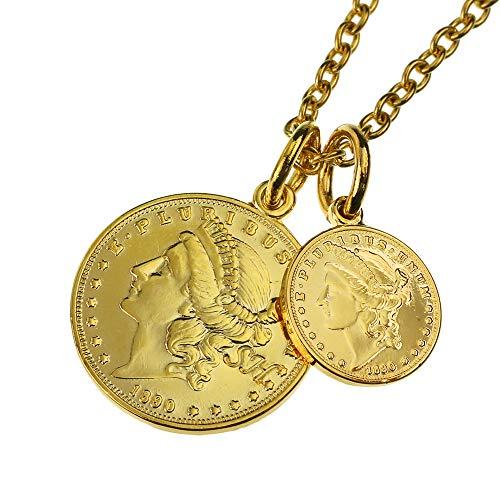 SHUMAIL (シュメール) ダブルゴールド コイン ペンダント ネックレス ケネディ 24kコーティング 50cm