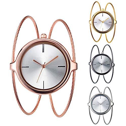 DAUERHAFT 4 Farben Geekthink Quarz Analoge Uhren, Armband mit offenem Armreif und rundem Gehäuse, Doppelringe mit offenem Armreif mit Doppelringen(Silber-)