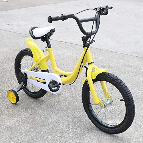 BTdahong 16 Pulgadas Bicicleta para Niños, Bicicleta Infantil con Rueda Auxiliar, Bicicleta de Niño con Pedal (Yellow)
