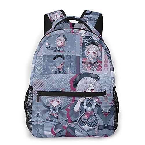 Genshin Impact - Mochila escolar de gran capacidad con dos bolsillos para botellas, mochila infantil para viajes, deportes, senderismo y escuela, unisex, e, M