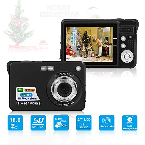 Image of HD Mini Digital Cameras,Point and Shoot Digital Cameras for Kids Teenagers Beginners-Travel,Camping,Outdoors,School (Black 2): Bestviewsreviews