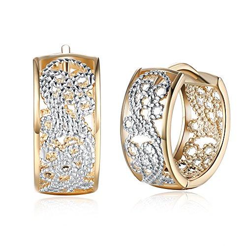 Dainty 14K Gold Silver Wide Filigree Hoop Earrings For Womens Girls Fashion Huggie Hypoallergenic Hoops For Sensitive Ears