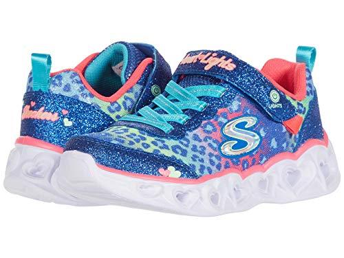 Skechers Kids Girl's Heart Lights Sneaker, Blue/Multi, 11 Medium US Little Kid