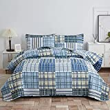 Blue Plaid Patchwork Quilt Set Full/Queen Size Stripe Bedspreads Printed Coverlets Soft Lightweight Gingham Grid Bedding with 2 pillowshams