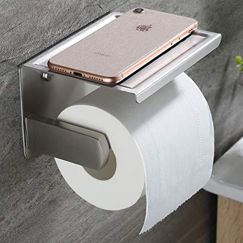 RUICER Porta Carta Igienica con Porta Cellulare - Portarotolo Carta Igienica Adesivo Porta Rotolo Carta Igienica da Parete per Bagno, SUS-304 Acciaio Inox