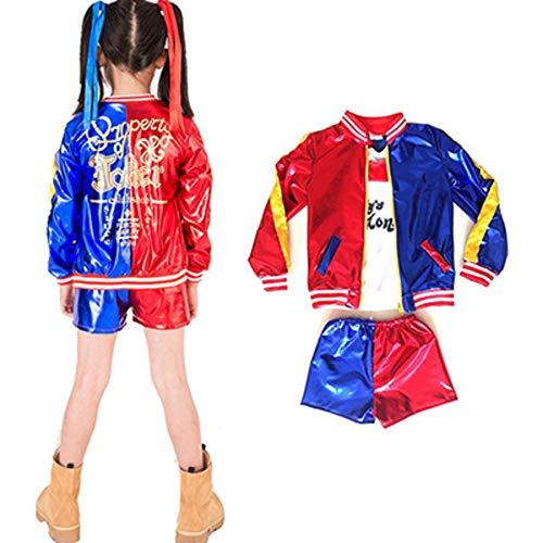 hengGuKeJiYo Har-Ley Quienn Costumi Cosplay per Bambini Ragazze Purim Cappotti Donna Giacca T-Shirt Pantaloncini Abito con Guanti Parrucca
