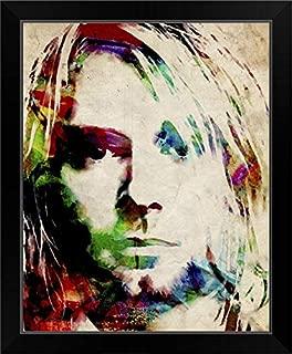 CANVAS ON DEMAND Kurt Cobain Urban Watercolor Black Framed Art Print, 19