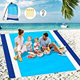 Libay Beach Blanket, Large Size 83'x78' Sand Free Picnic Blankets Waterproof Mat with 4 Stakes and 4 Corner Pockets, Lightweight & Durable for 4-7 Adults Travel Party Sports Camping Hiking(Blue)