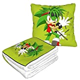 Hdadwy Rock Hedgehog Travel 2 in 1 Ultra Soft Blanket Compact Fleece Throw Pillow Blanket Set for Any Travel