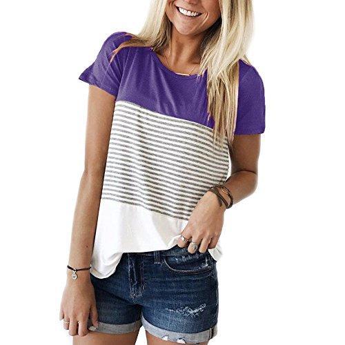 YunJey Short Sleeve Round Neck Triple Color Block Stripe T-Shirt Casual Blouse Purple