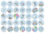 cute-head 24 Adventskalender-Zahlen + 11 Motive | Selbstklebend | Einhorn/Unicorn | Rund | S » Ø...