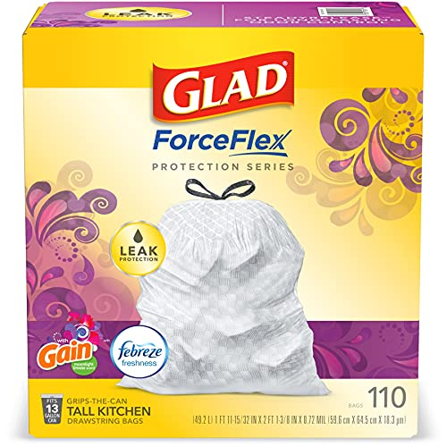 Glad ForceFlex Protection Series Tall Trash Bags, 13 Gal, Gain Moonlight Breeze with Febreze, 110 Ct (Package May Vary)