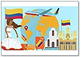 Bienvenido a Colombia. Imán para nevera con ilustración de viaje y viaje