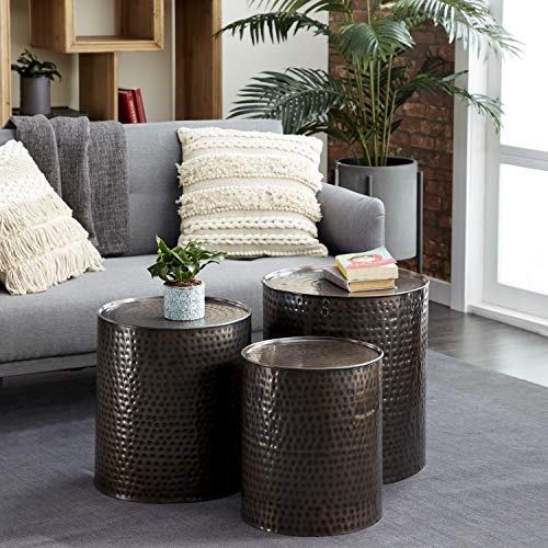 Deco 79 23851 Small Brown Hammered Metal Round End Tables | Set of 3