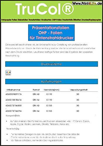 50x OHP Overheadfolie DIN A3 (420mm x 297mm) 110mic Transparentfolie Transparentpapier Präsentationsfolie KLAR transparent für Inkjetdruck Inkjet Tinte Tintenstrahldrucker - Stärke 0,11mm spezialbeschichtet