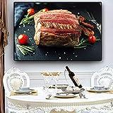 ganlanshu Pintura sin Marco Vegetal Carne Cuchillo y Tenedor Cocina póster e impresión Lienzo Arte de la paredCGQ7436 30X45cm
