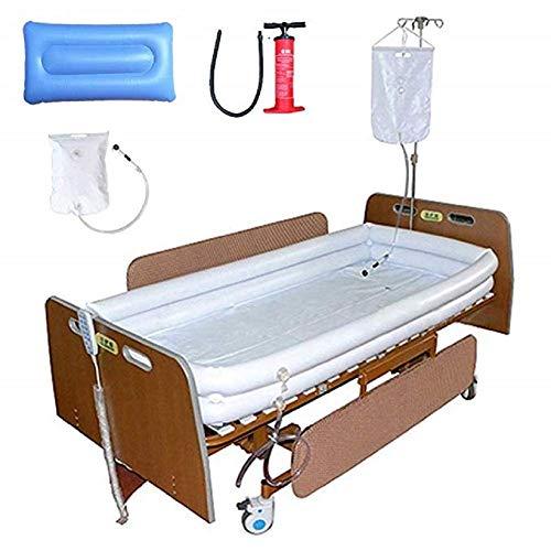 QYHT Behinderte Badewanne, Medizinische Erwachsene Aufblasbare Badehilfen PVCs, mit Pumpe + Duschwasserbeutel + Aufblasbarem Kissen, Für Bettlägerigen Patienten Bad Leicht im Bett