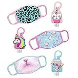 ABG Accessories 3-Pack Kids Face Mask and Hand Sanitizer Holder Keychain (1 Fl Oz. Flip Cap Reusable Empty Bottles), Unicorn Design, Girl 4-10