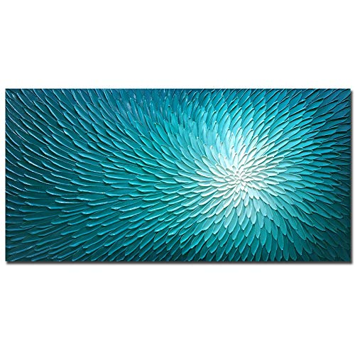 Amei Art Paintings, 24X48Inch Hand Painted Textured Wall Art on Canvas Oil Hand Painting Blooming Floral Artwork Art Wood Inside Framed Hanging Wall Decoration Abstract Oil Paintings (Teal Blue)