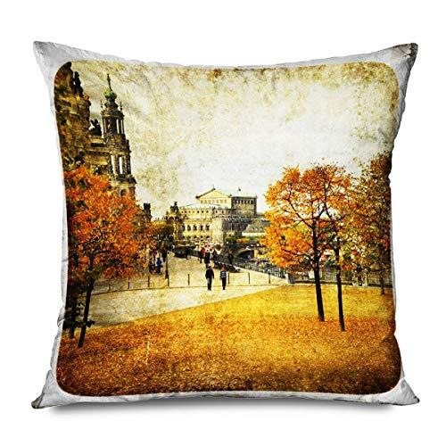 iksrgfvb Throw Pillow Cover Square 45x45CM Yellow Leaves Landscape Autumn Dresden Vintage Series Album Altstadt Antique Architectur