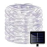 KINGCOO 100 lampade a strisce LED a energia solare, impermeabili, con filo di rame lungo 12 m, lampade da esterni per giardino, cortile, vialetto, recinto, alberi White