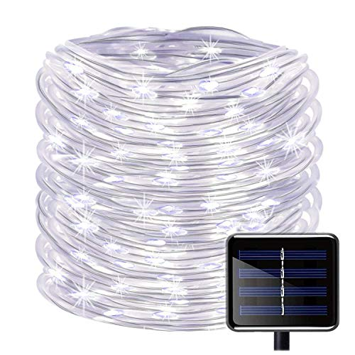 100 LEDs Solar Seil Lichterkette,KINGCOO Wasserdicht 39 ft/12 m kupfer Draht Outdoor Tube Lichterkette für Weihnachten Garten Yard Weg Zaun Baum Backyard (Weiß)
