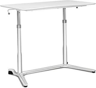 Tangkula Standing Desk Computer Desk, Height Adjustable Sit Stand Desk with Movable Wheels, Portable Writing Study Laptop Table of Iron Pipe Frame, MDF, PVC Tabletop, for Home Office Dorm
