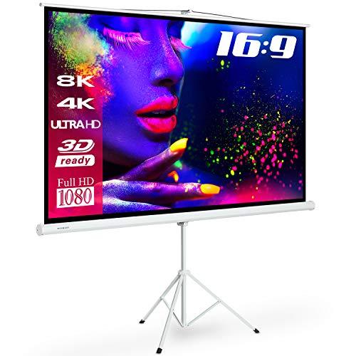 ESMART Professional MISATI Stativ-Leinwand [Größenauswahl] 244 x 137 cm (110') 16:9 | Heimkino Beamer Projektionsleinwand Stativ Leinwand LCD LED