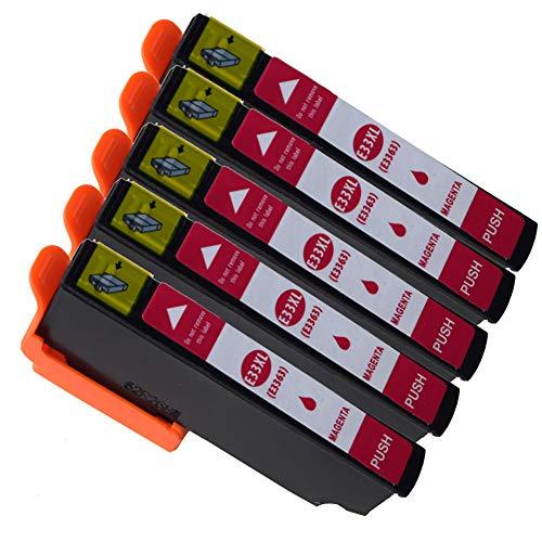 Cartuchos de Tinta Epson 33XL 33 Compatibles con Impresoras Epson Expression Premium XP-900 XP-830 XP-645 XP-640 XP-635 XP-630 XP-540 (5*Magenta)