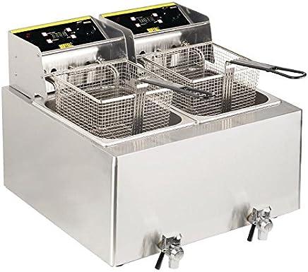 Buffalo doble freidora, 2.9 kW 452 x 550 x 595 mm acero inoxidable cocina Catering