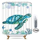 Cdcurtain White Sea Turtle Shower Curtain Free Metal Hooks 12-Pack Ocean Animal Colored