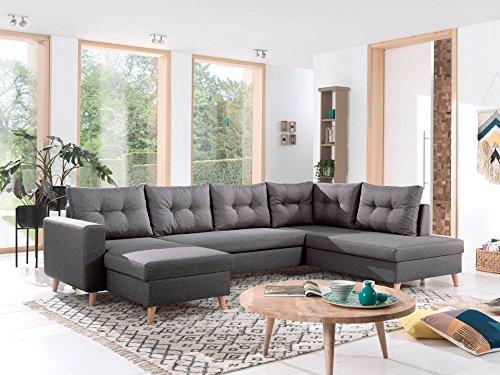 Bestmobilier - Nordic - Canapé scandinave d'angle Droite panoramique Convertible en Tissu - 299x86x188cm